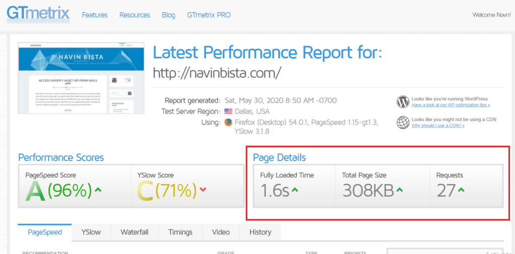 pagespeed report